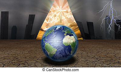 függöny, közül, dystopic, világ, indít, fordíts, feltár, egy, lábszár, kereszt, és, más, világ
