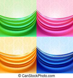 függöny, selyem, állhatatos, színezett, fátyol