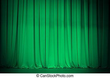 függöny, zöld, vagy, színház, smaragdzöld