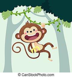 függő, banán, karikatúra, jungle., vektor, majom, ábra, liana