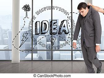 függő, composite szobor, üzletember