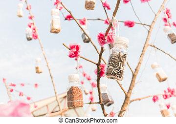 függő, szemesedik, fa, palack, műanyag