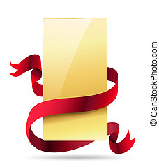 függőleges, arany-, kártya, noha, piros szalag