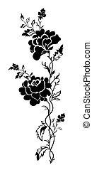 függőleges, floral példa, rózsa, tatto