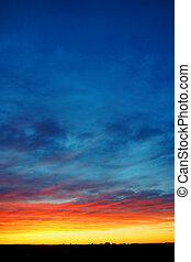 függőleges, színes, napnyugta, felett, vidék