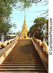 führen, buddhist, treppe, tempel