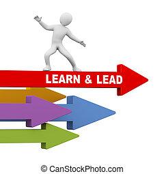 führen, freude, reiten, person, pfeil, lernen, 3d