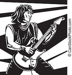 führen, gitarrist, -, leisten, in, concert
