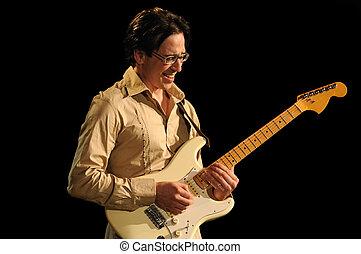 führen, gitarrist, spielende