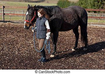 führen, m�dchen, hübsch, pferd, sie