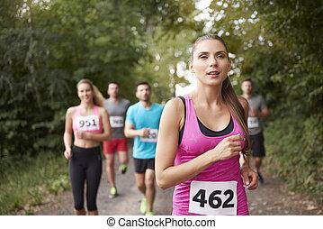 führen, rennender , frau, marathon