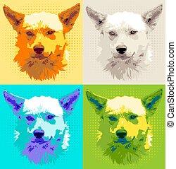 führen satz, hund, abbildung, pooch, vektor