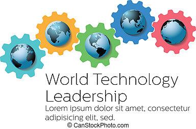 führer, global, zahnräder, welt, technologie