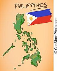 fülöp-szigetek, térkép, és, nemzeti lobogó, vektor