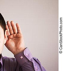 fül, övé, fog, ember, kéz