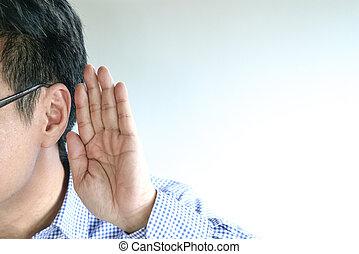 fül, fogalom, fog, kéz, övé, kihallgatás, üzletember, vagy, gesztus