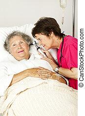 fül, kórház, ellenőriz, türelmes