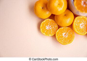 füllen, aufgeschnitten, hintergrund, schließen, orange, frisch, ansicht, creme