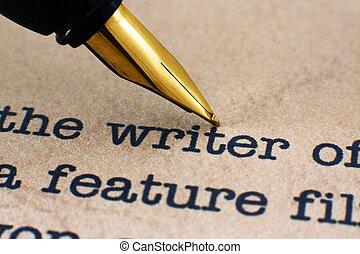 füllhalter, auf, schriftsteller