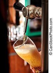 füllung, glas, mit, bier