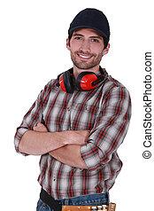 fülvédő, övé, nyak, fizikai munkás, portré, mindenfelé