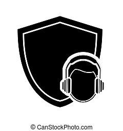 fülvédő, szerkesztés munkás, pajzs, ikon