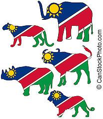 fünf, groß, namibia