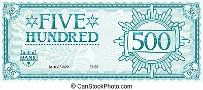 fünf hundert, abstrakt, banknote