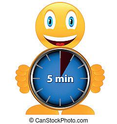 fünf, minuten, lächeln