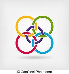 fünf, zusammengefügt, kreise, symbol