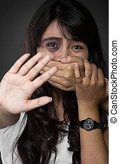 fürchten, von, frau, victimnof, inländische gewalttätigkeit, und, mißbrauch