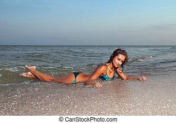 fürdés, nő, tenger