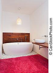 fürdőkád, alatt, egzotikus, mód, fürdőszoba