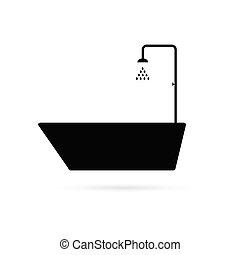 fürdőkád, fekete, vektor