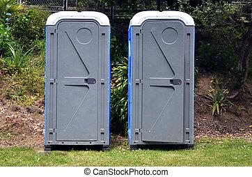fürdőszobák, két, hordozható