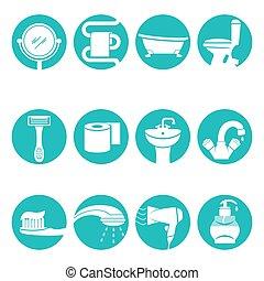 fürdőszoba, alapismeretek, szükséges, poszter, vektor, cégtábla, jel, kerek