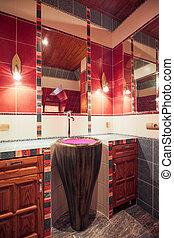 fürdőszoba, alatt, gyarmati mód, épület