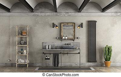fürdőszoba, alatt, ipari, mód