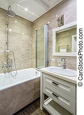 fürdőszoba, alatt, klasszikus, mód
