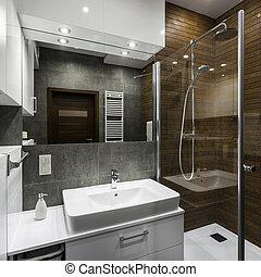 fürdőszoba, alatt, skandináv, mód