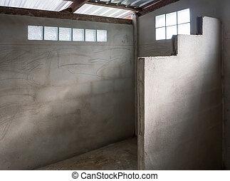 fürdőszoba, befejezetlen, construction., alatt