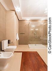 fürdőszoba, belső, alatt, finom, mód
