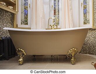 fürdőszoba, belső, alatt, klasszikus, mód