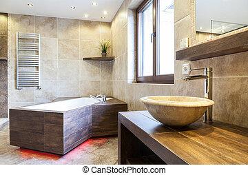 fürdőszoba, belső, bámulatos