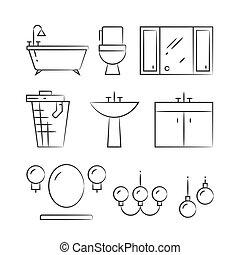 fürdőszoba, berendezés, és, világítás, kéz, húzott, egyenes, ikonok