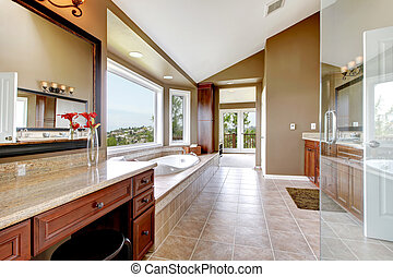 fürdőszoba, brown., modern, nagy, fiatalúr, fényűzés, új