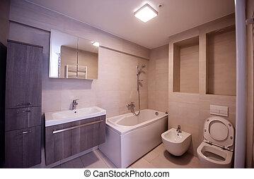 fürdőszoba, elegáns, belső