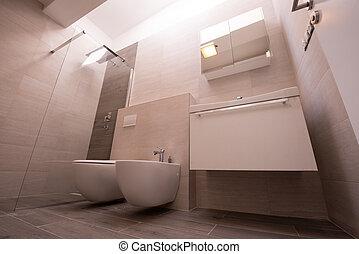 fürdőszoba, fényűzés, elegáns, belső