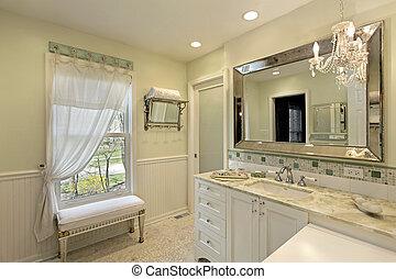fürdőszoba, fehér, cabinetry