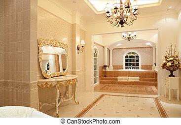 fürdőszoba, fiatalúr, fényűzés